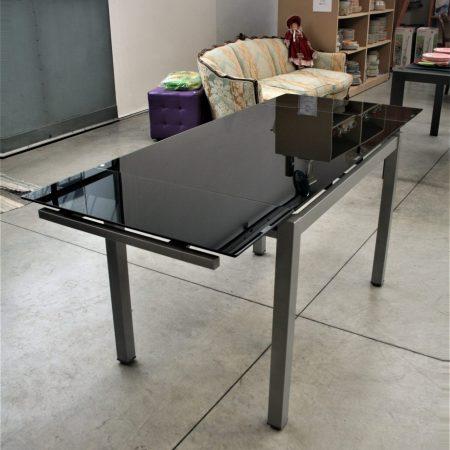 Tavolo metallo vetro temperato nero Tomasucci (1.1)